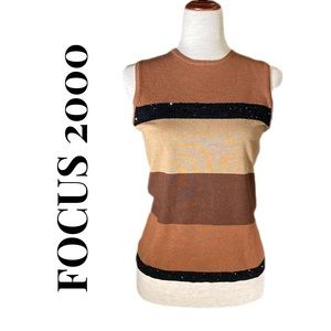 FOCUS 2000 SLEEVELESS SEQUIN TOP M